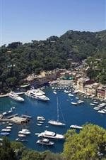 Preview iPhone wallpaper Portofino, Liguria, Italy, houses, boats, trees, blue sea
