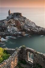 Portovenere, Liguria, Italy, Church of San Pietro, rocks, sea, coast