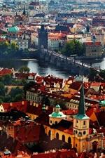 미리보기 iPhone 배경 화면 프라하, 체코 공화국, 찰스 다리, 주택, 강