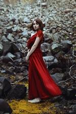Preview iPhone wallpaper Red dress girl, short hair, stones