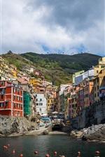 Preview iPhone wallpaper Riomaggiore, Cinque Terre, Liguria, Italy, sea, coast, buildings, houses