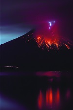 Preview iPhone wallpaper Sakurajima, volcano eruption, lava, natural disaster, Japan