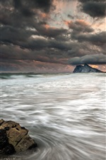 Preview iPhone wallpaper Sea, beach, clouds, storm, dusk