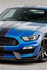 Preview iPhone wallpaper Shelby Ford Mustang GT350R blue car front view