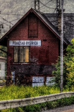 Preview iPhone wallpaper Slovakia, train station, house, trees, clouds, HDR style