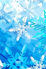 Preview iPhone wallpaper Snowflake, winter, blue, art design