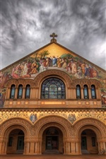 Preview iPhone wallpaper Stanford Church, painting, clouds, dusk, California, USA