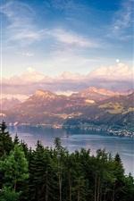 미리보기 iPhone 배경 화면 스위스, 취리히 호수, 호수, 숲, 나무, 산, 구름