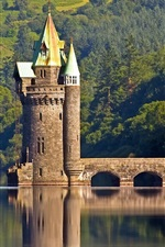 Torre, farol, árvores, rio, Inglaterra, País de Gales