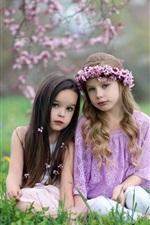 Duas meninas bonitos, natureza, grama