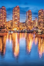 Preview iPhone wallpaper Vancouver, Canada, night city, lights, buildings, yachts, water reflection