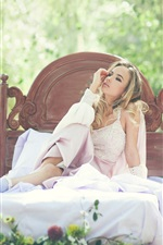 Preview iPhone wallpaper White dress girl sitting bed, outside, nature