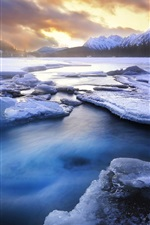 Preview iPhone wallpaper Winter, snow, ice, lake, mountains, forest, sunset