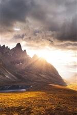 Yukon, Canada, mountains, pond, sunset, clouds, dusk