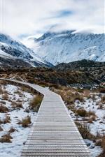 Preview iPhone wallpaper Aoraki Mount Cook National Park, New Zealand, mountains, snow, path