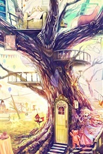 Preview iPhone wallpaper Beautiful art painting, magical world, fantasy house, tree, toys, sofa