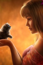 Preview iPhone wallpaper Beautiful fantasy girl with kitten