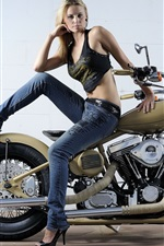 Preview iPhone wallpaper Beautiful girl and motorcycle