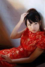 Preview iPhone wallpaper Beautiful red cheongsam girl in the room