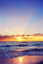 Preview iPhone wallpaper Beautiful sunset, sun, sea, waves, beach, clouds