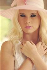 Preview iPhone wallpaper Blonde girl, beautiful hat