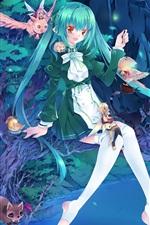 Blue hair anime girl, fairies, waterfall, light, fantasy