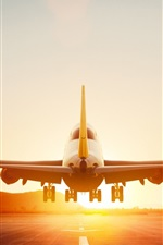 Preview iPhone wallpaper Boeing 747-8 aircraft takeoff, dawn, Lufthansa