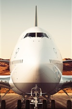 Preview iPhone wallpaper Boeing 747-8 airliner, Lufthansa, airport