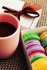 Preview iPhone wallpaper Cakes, cookies, dessert, colorful colors, cup, coffee, gift