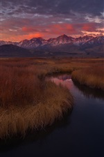 Preview iPhone wallpaper California, USA, Owens river, grass, mountains, sunset