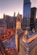 Preview iPhone wallpaper Chicago city at dawn, Illinois, USA, Chicago, winter, buildings, lights, height