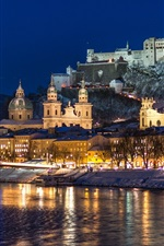 City night, Salzburg, Austria, river, winter, snow, houses, lights