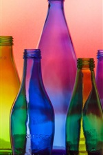 Colorful glass bottles, light, colors