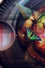 Preview iPhone wallpaper Creative design, butterfly, colorful circle, light