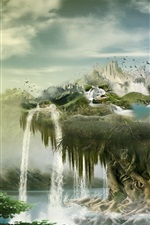 Creative design, float island, waterfalls, birds, clouds, mountains