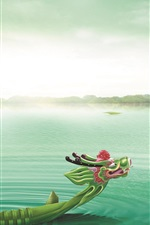 Preview iPhone wallpaper Dragon Boat Festival, Dragon Boat, Lake, Zongzi