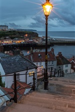 England, Whitby, coast, sea, lamp, stairs, houses, clouds, night