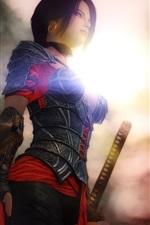 Fantasy girl, warrior, sword, 3D rendering