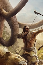 Preview iPhone wallpaper Far Cry: Primal, mammoths, saber-toothed tiger