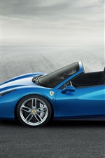 Preview iPhone wallpaper Ferrari 488 Spider blue supercar side view
