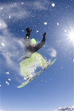 Preview iPhone wallpaper Free dance in the sky, snowboard, sun, snow