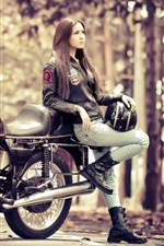 Preview iPhone wallpaper Girl with motorcycle BMW R100S