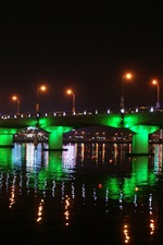Han River, Korea, bridge, beautiful illumination, night, water reflection