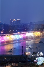 Han River, bridge, rainbow illumination, night, Seoul, South Korea