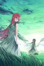 Preview iPhone wallpaper Hatsune Miku, anime, four girls, grass, clouds