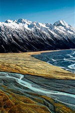 Preview iPhone wallpaper Hooker Valley, Aoraki Mount Cook, New Zealand, mountains, river