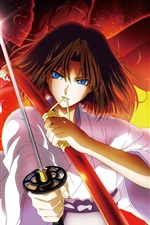 Preview iPhone wallpaper Kara no Kyoukai, sword, blue eyes