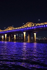 Korea, Han River, bridge, blue illumination, night