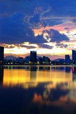 Coreia do Sul, Seul, cidade, Han River, noite, construções, luzes