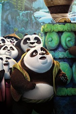 Preview iPhone wallpaper Kung Fu Panda 3, Panda village of pandas